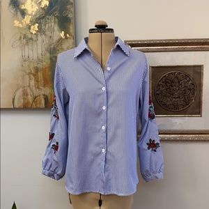 Tops - Blue pinstripes with rose embroidered sleeves